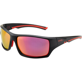 UVEX Sportstyle 222 Pola Glasses, black matt red/mirror red